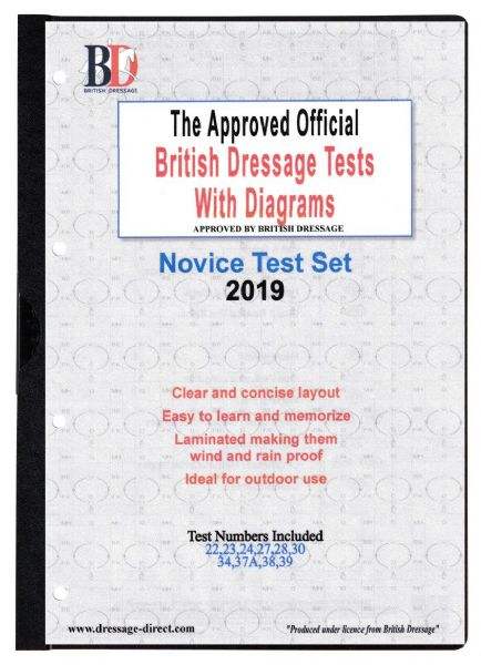 2019 NOVICE TEST SET: Official Laminated British Dressage Tests with Diagrams